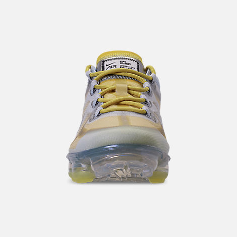 Front view of Women's Nike Air VaporMax 2019 Premium Running Shoes in Celery/Metallic Silver/Half Blue