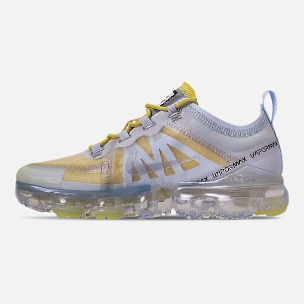Left view of Women's Nike Air VaporMax 2019 Premium Running Shoes in Celery/Metallic Silver/Half Blue