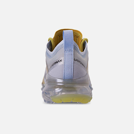 Back view of Women's Nike Air VaporMax 2019 Premium Running Shoes in Celery/Metallic Silver/Half Blue