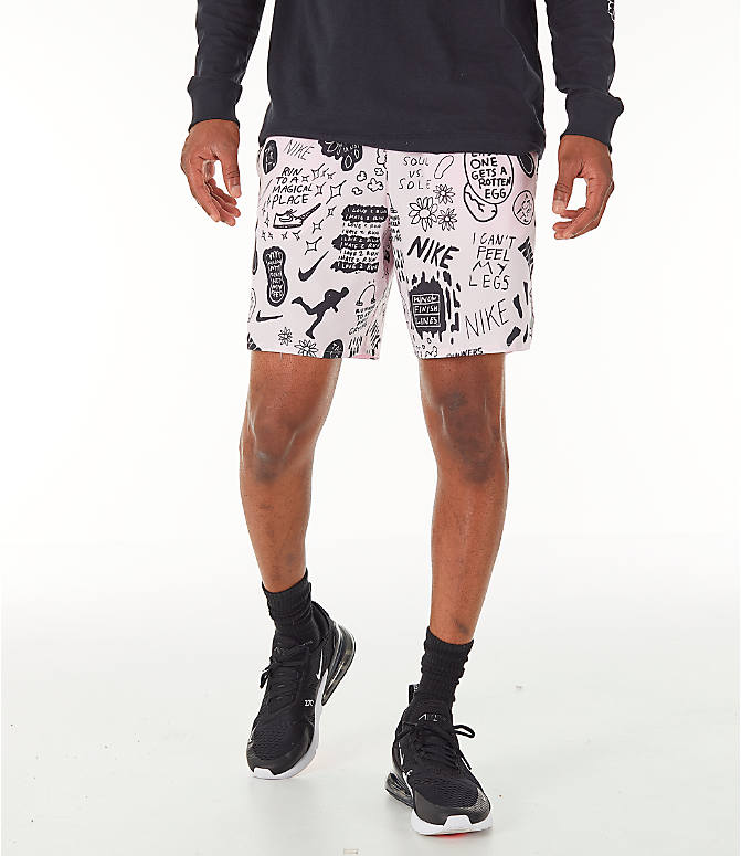 Front view of Men's Nike Flex Stride Nathan Bell 7 Inch Printed Running Shorts in Pink Foam