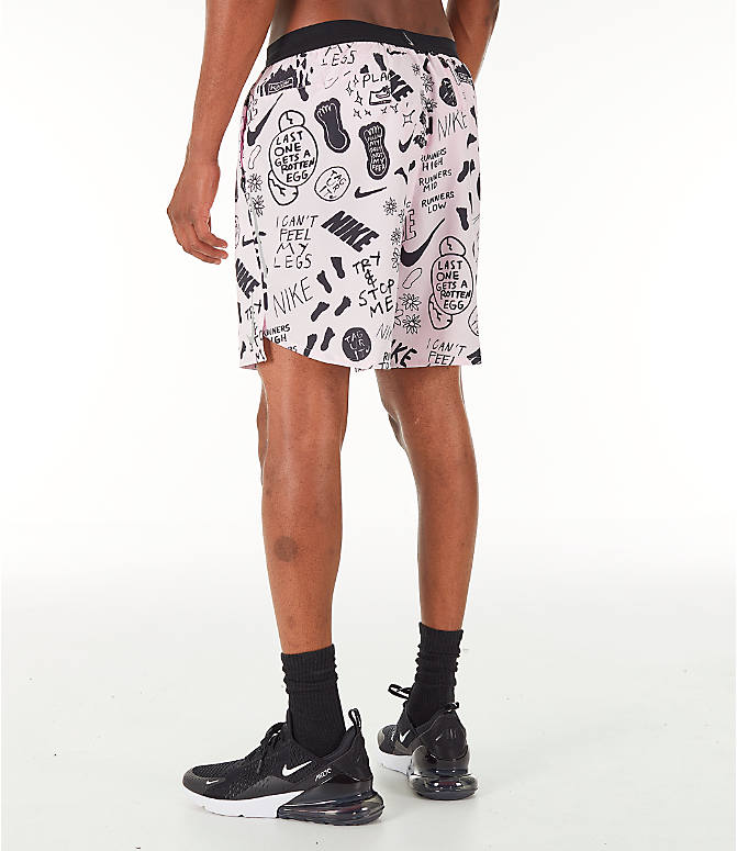 Back Left view of Men's Nike Flex Stride Nathan Bell 7 Inch Printed Running Shorts in Pink Foam