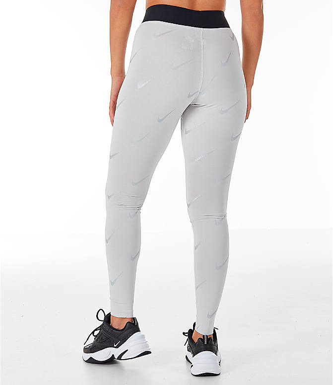 Back Left view of Women's Nike Sportswear Metallic Clash Leg-A-See Allover Print Leggings in Grey/Metal