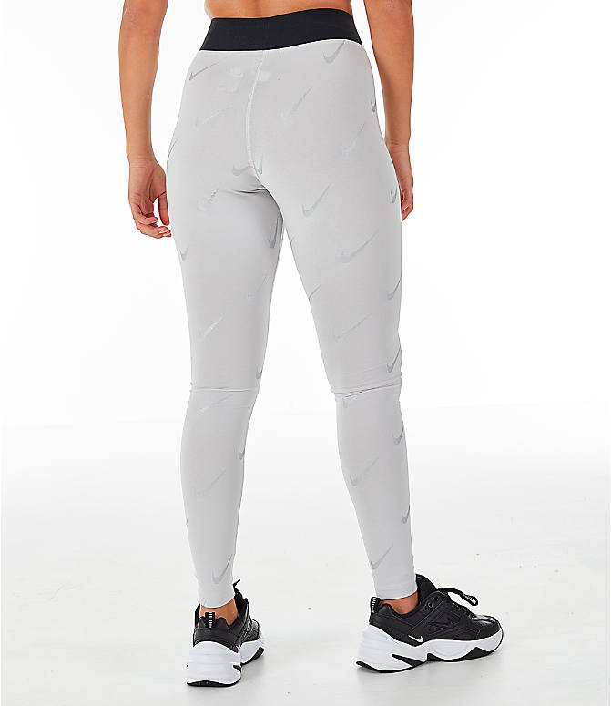 Back Right view of Women's Nike Sportswear Metallic Clash Leg-A-See Allover Print Leggings in Grey/Metal