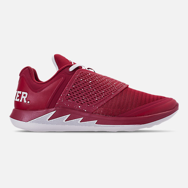 Right view of Men's Jordan Grind 2 Oklahoma Sooners Running Shoes in Red Crush/White/Black