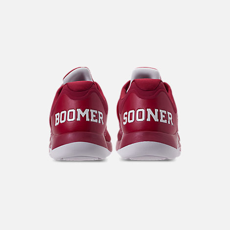 Back view of Men's Jordan Grind 2 Oklahoma Sooners Running Shoes in Red Crush/White/Black