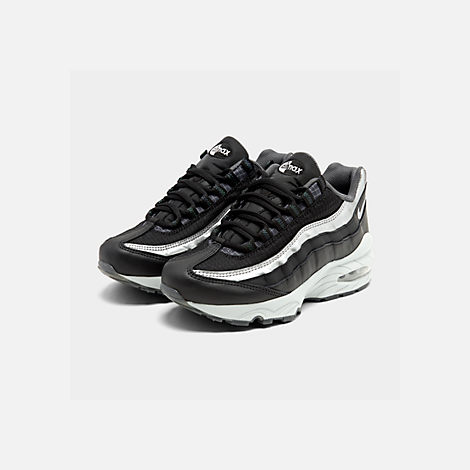 Three Quarter view of Boys' Big Kids' Nike Air Max 95 Y2K Casual Shoes in Black/Metallic Silver/Dark Grey