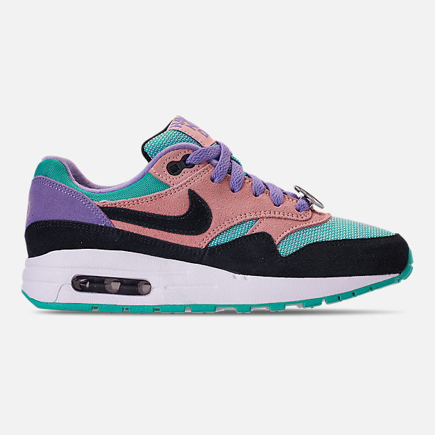 Right view of Big Kids' Nike Air Max 1 SE Casual Shoes in Black/White/Space Purple/Bleached Coral