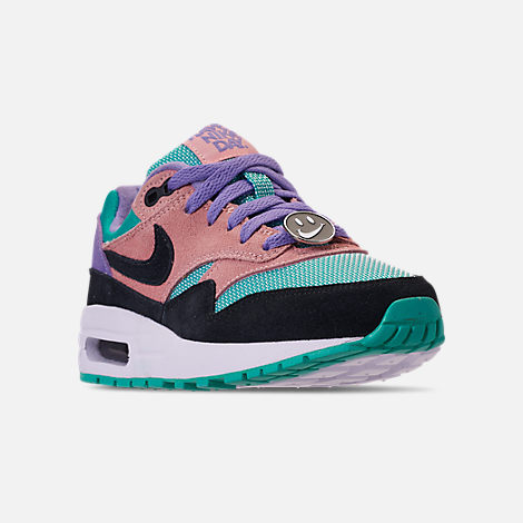 Three Quarter view of Big Kids' Nike Air Max 1 SE Casual Shoes in Black/White/Space Purple/Bleached Coral