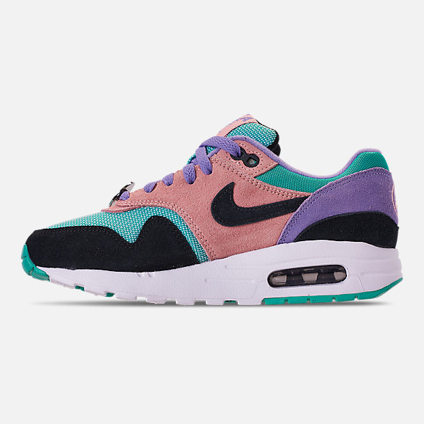 Left view of Big Kids' Nike Air Max 1 SE Casual Shoes in Black/White/Space Purple/Bleached Coral