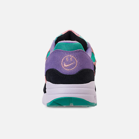 Back view of Big Kids' Nike Air Max 1 SE Casual Shoes in Black/White/Space Purple/Bleached Coral