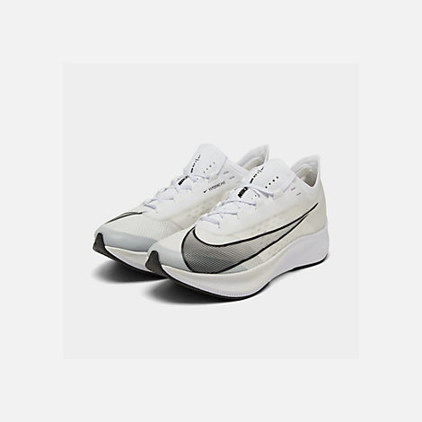 Three Quarter view of Men's Nike Zoom Fly 3 Running Shoes in White/Black/Atmosphere Grey