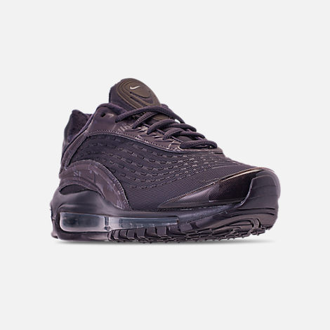 Three Quarter view of Women's Nike Air Max Deluxe SE Casual Shoes in Oil Grey/Oil Grey/Oil Grey