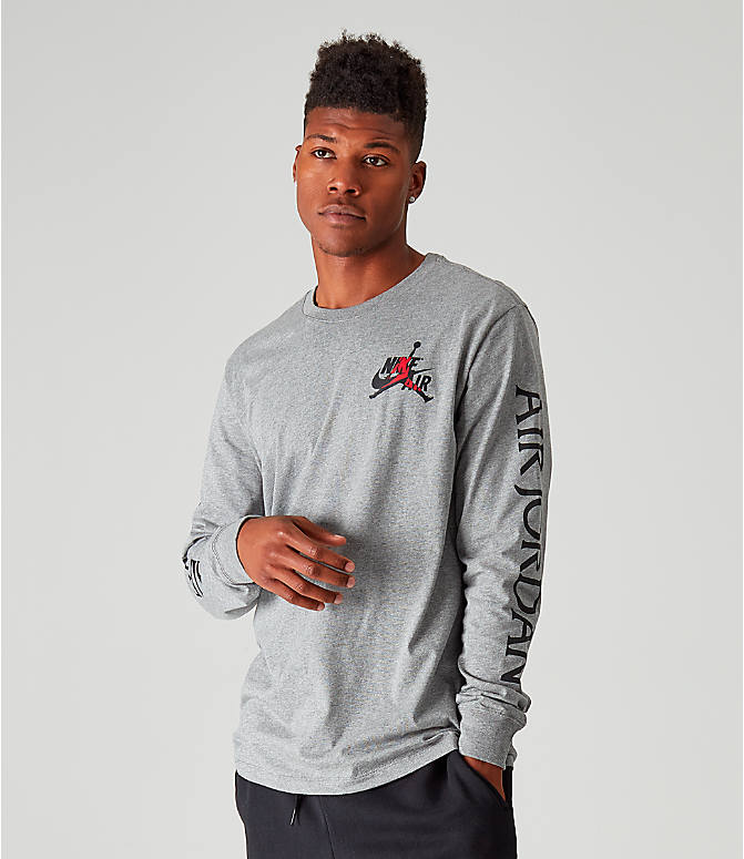 Back Left view of Men's Jordan Mashup Classics Long-Sleeve T-Shirt in Carbon Heather/Gym Red/Black