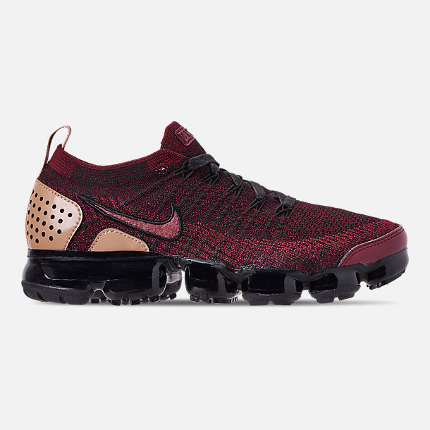 Right view of Men's Nike VaporMax Flyknit 2 NRG Running Shoes in Team Red/Black/Vachetta Tan