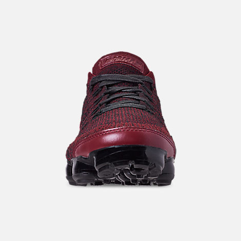 Front view of Men's Nike VaporMax Flyknit 2 NRG Running Shoes in Team Red/Black/Vachetta Tan