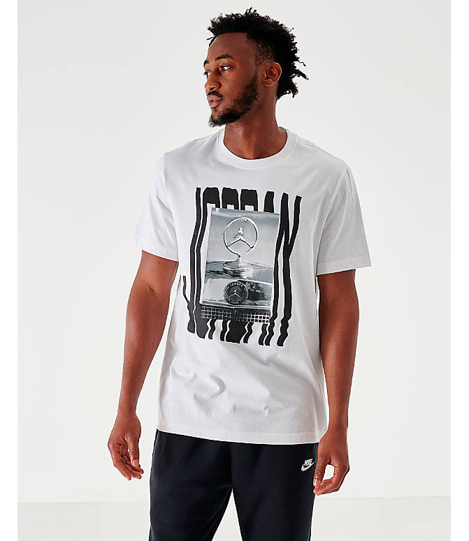 Front view of Men's Jordan Wavy Photo T-Shirt in White