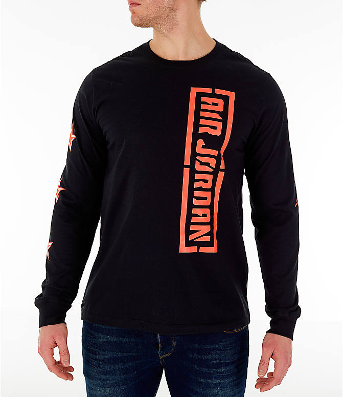 Front view of Men's Jordan City of Flight Long Sleeve T-Shirt in Black/Infrared