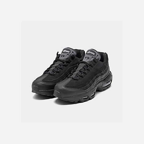 Three Quarter view of Men's Nike Air Max 95 Essential Casual Shoes in Black/Black/Anthracite
