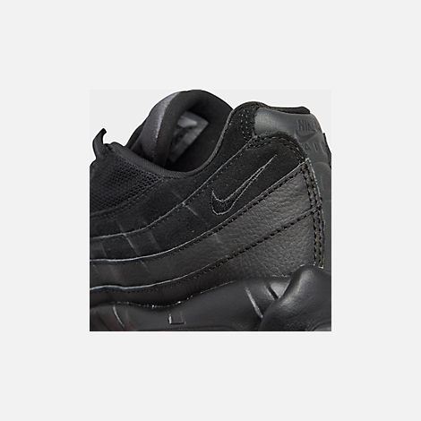 Front view of Men's Nike Air Max 95 Essential Casual Shoes in Black/Black/Anthracite
