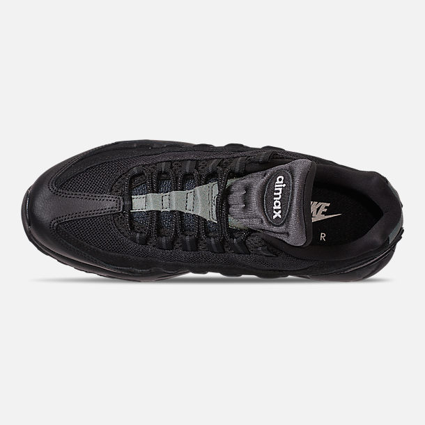 Top view of Men's Nike Air Max 95 Essential Casual Shoes in Black/Black/Anthracite