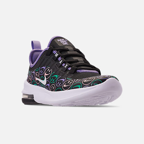 Three Quarter view of Big Kids' Nike Air Max Axis Print Running Shoes in Black/White/Space Purple/Hyper Jade