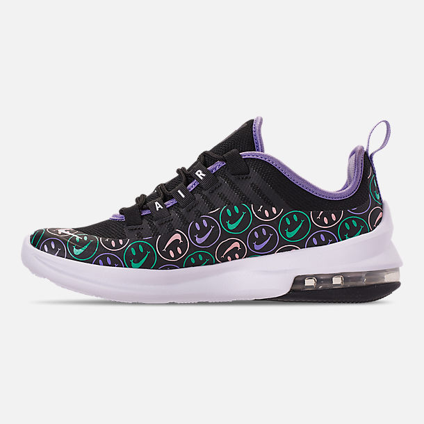 Left view of Big Kids' Nike Air Max Axis Print Running Shoes in Black/White/Space Purple/Hyper Jade