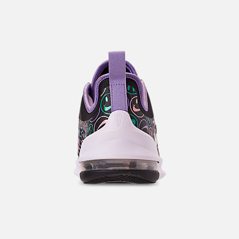 Back view of Big Kids' Nike Air Max Axis Print Running Shoes in Black/White/Space Purple/Hyper Jade