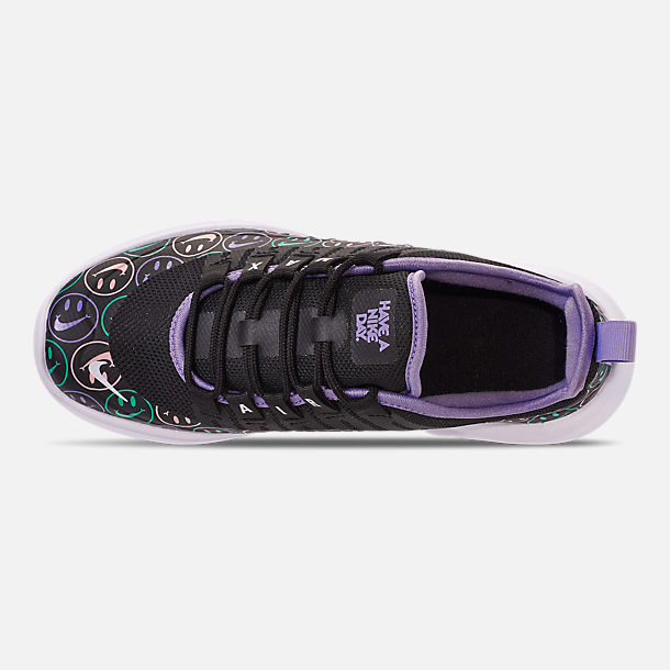 Top view of Big Kids' Nike Air Max Axis Print Running Shoes in Black/White/Space Purple/Hyper Jade