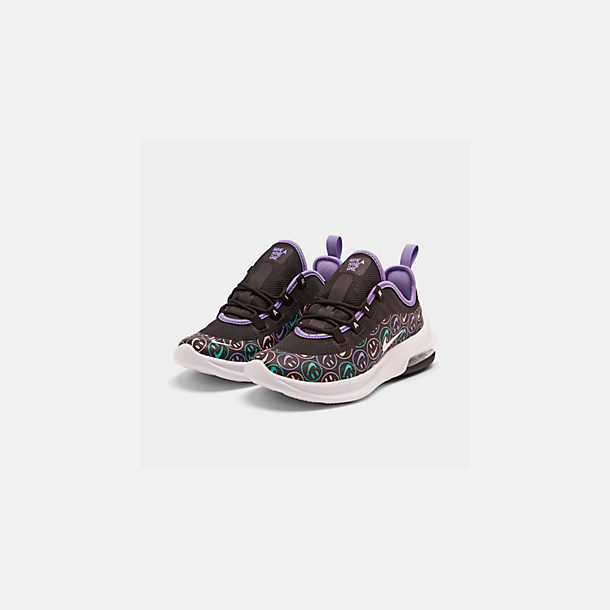 Three Quarter view of Little Kids' Nike Air Max Axis Print Casual Shoes in Black/White/Space Purple/Hyper Jade