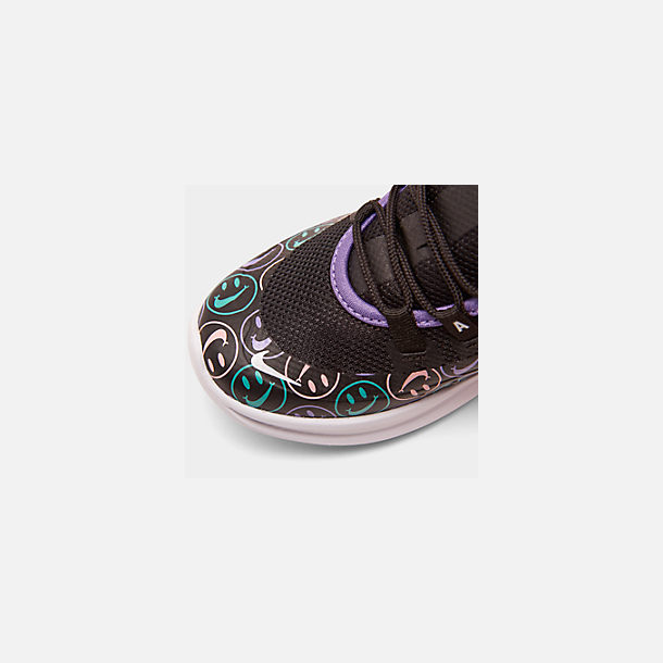 Front view of Little Kids' Nike Air Max Axis Print Casual Shoes in Black/White/Space Purple/Hyper Jade