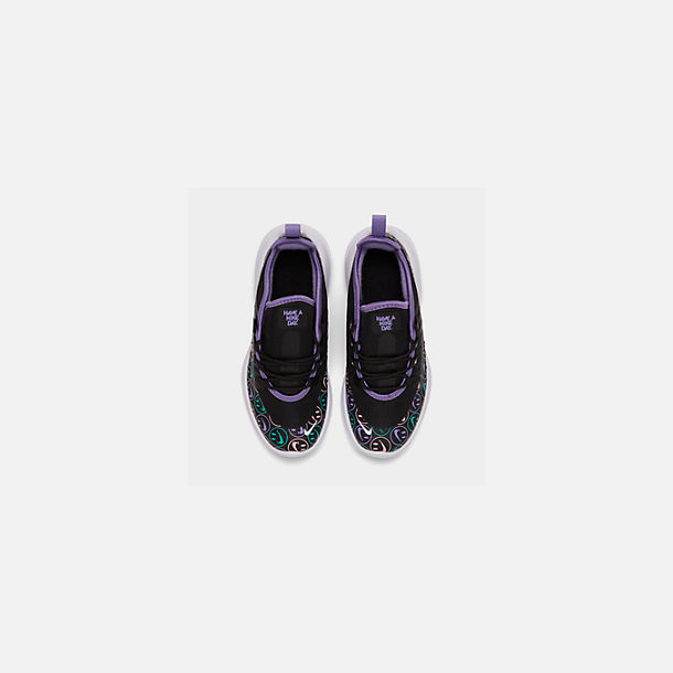 Back view of Little Kids' Nike Air Max Axis Print Casual Shoes in Black/White/Space Purple/Hyper Jade