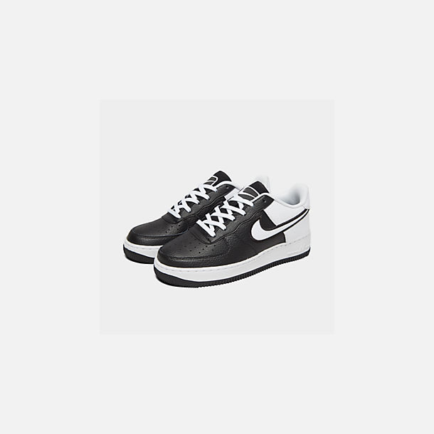 Three Quarter view of Boys' Big Kids' Nike Air Force 1 LV8 1 Casual Shoes in Black/White