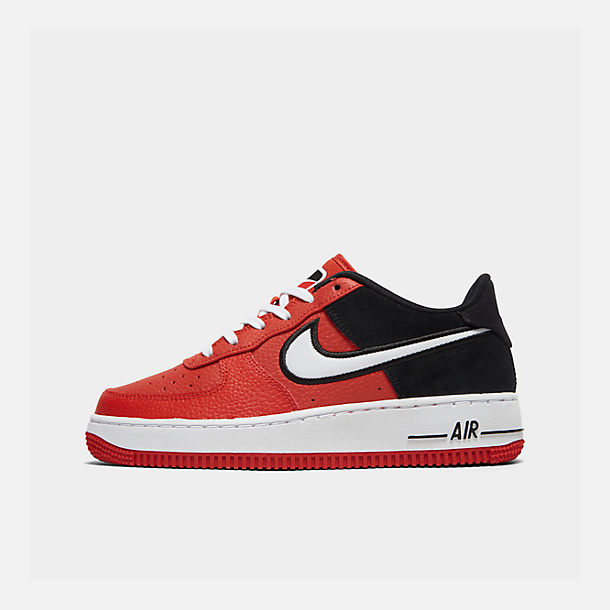 Right view of Boys' Big Kids' Nike Air Force 1 LV8 1 Casual Shoes in Mystic Red/White/Black