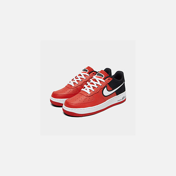 Three Quarter view of Boys' Big Kids' Nike Air Force 1 LV8 1 Casual Shoes in Mystic Red/White/Black