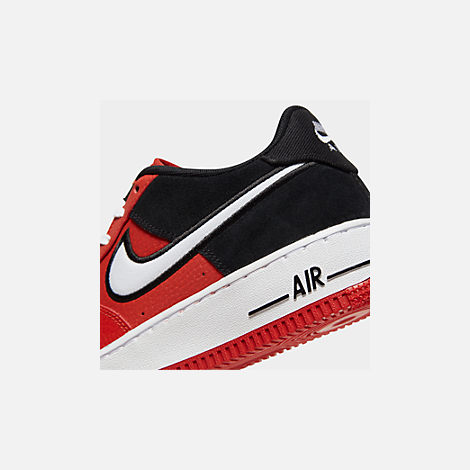 Front view of Boys' Big Kids' Nike Air Force 1 LV8 1 Casual Shoes in Mystic Red/White/Black