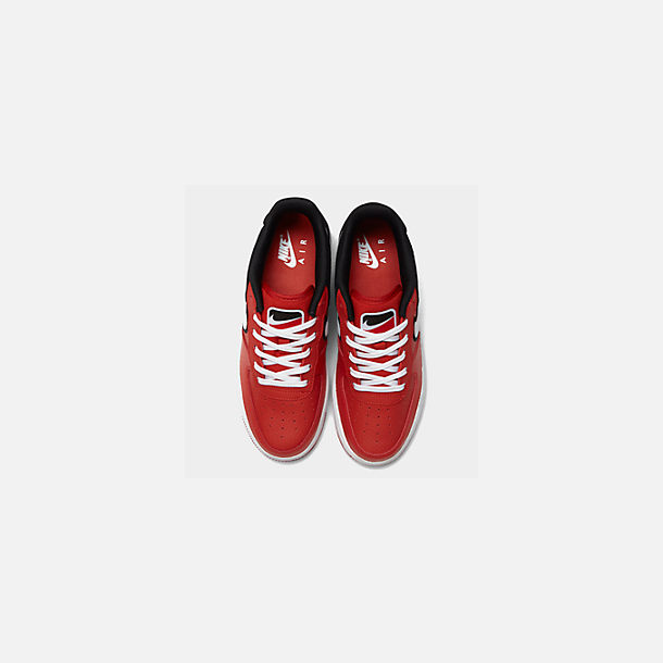 Back view of Boys' Big Kids' Nike Air Force 1 LV8 1 Casual Shoes in Mystic Red/White/Black