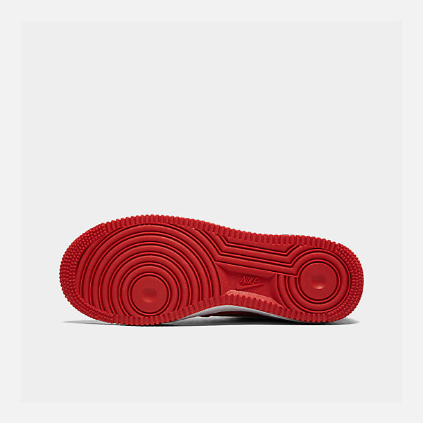 Bottom view of Boys' Big Kids' Nike Air Force 1 LV8 1 Casual Shoes in Mystic Red/White/Black