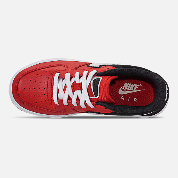 Top view of Boys' Big Kids' Nike Air Force 1 LV8 1 Casual Shoes in Mystic Red/White/Black