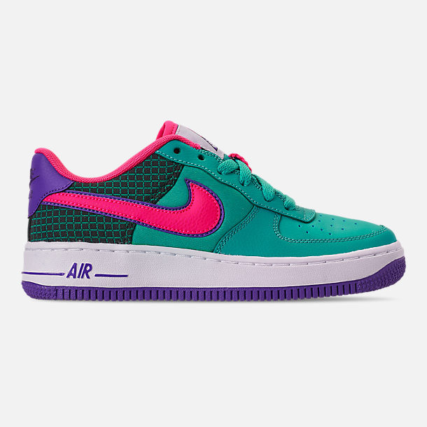Right view of Boys' Big Kids' Nike Air Force 1 Now Casual Shoes in Cabana/Hyper Pink/Outdoor Green
