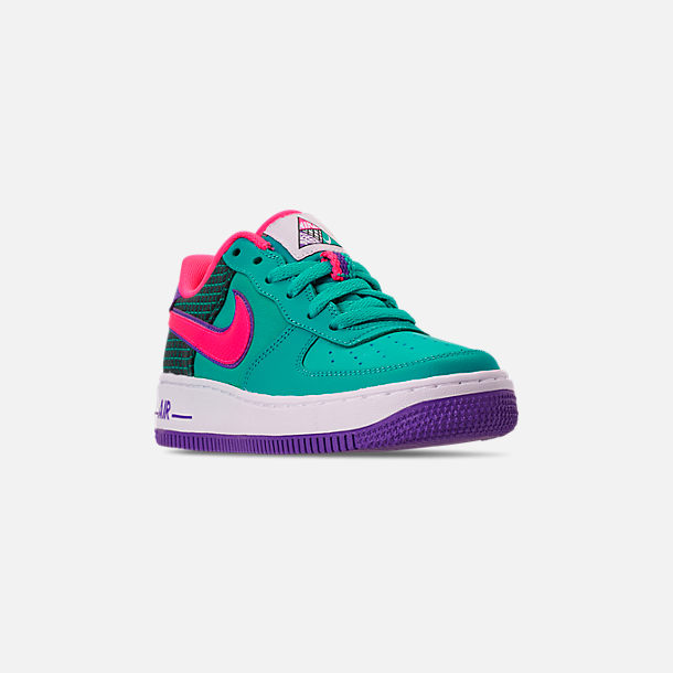 Three Quarter view of Boys' Big Kids' Nike Air Force 1 Now Casual Shoes in Cabana/Hyper Pink/Outdoor Green