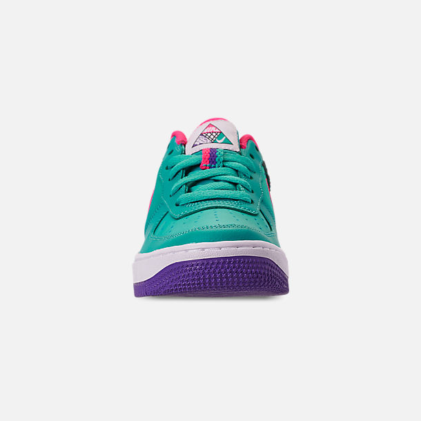 Front view of Boys' Big Kids' Nike Air Force 1 Now Casual Shoes in Cabana/Hyper Pink/Outdoor Green