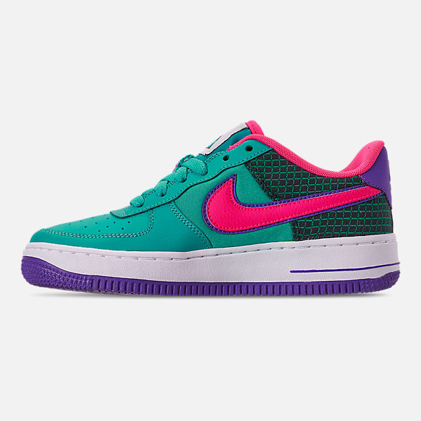 Left view of Boys' Big Kids' Nike Air Force 1 Now Casual Shoes in Cabana/Hyper Pink/Outdoor Green