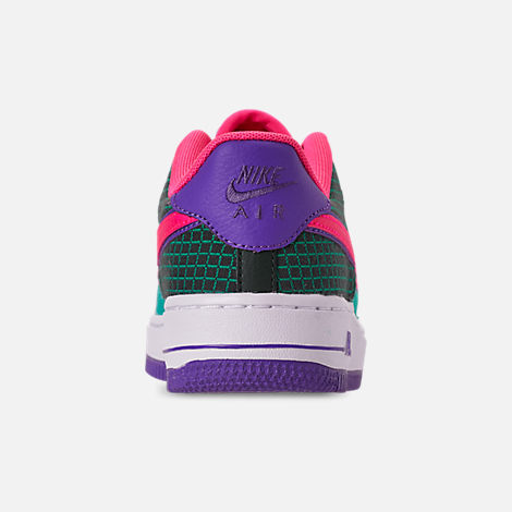 Back view of Boys' Big Kids' Nike Air Force 1 Now Casual Shoes in Cabana/Hyper Pink/Outdoor Green