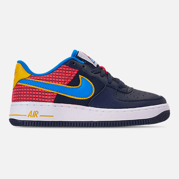 Right view of Boys' Big Kids' Nike Air Force 1 Now Casual Shoes in Obsidian/Photo Blue/Bright Crimson