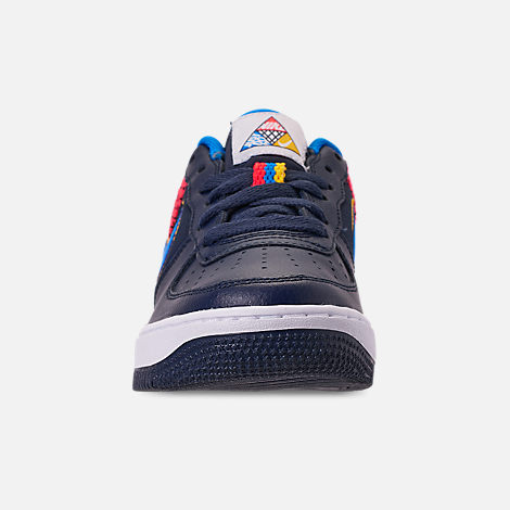 Front view of Boys' Big Kids' Nike Air Force 1 Now Casual Shoes in Obsidian/Photo Blue/Bright Crimson