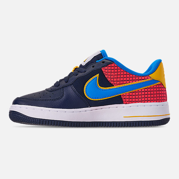 Left view of Boys' Big Kids' Nike Air Force 1 Now Casual Shoes in Obsidian/Photo Blue/Bright Crimson