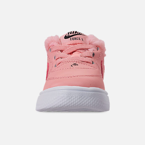Front view of Girls' Toddler Nike Air Force 1 '18 Casual Shoes in Bleached Coral/Bleached Coral/Black