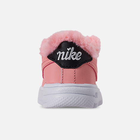 Back view of Girls' Toddler Nike Air Force 1 '18 Casual Shoes in Bleached Coral/Bleached Coral/Black