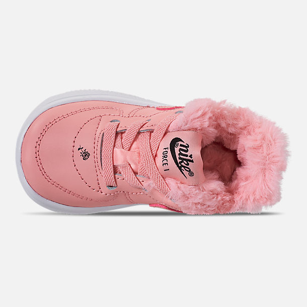 Top view of Girls' Toddler Nike Air Force 1 '18 Casual Shoes in Bleached Coral/Bleached Coral/Black