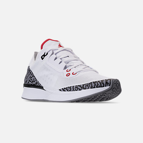 Three Quarter view of Men's Jordan '88 Racer Running Shoes in White/Fire Red/Black/Cement Grey